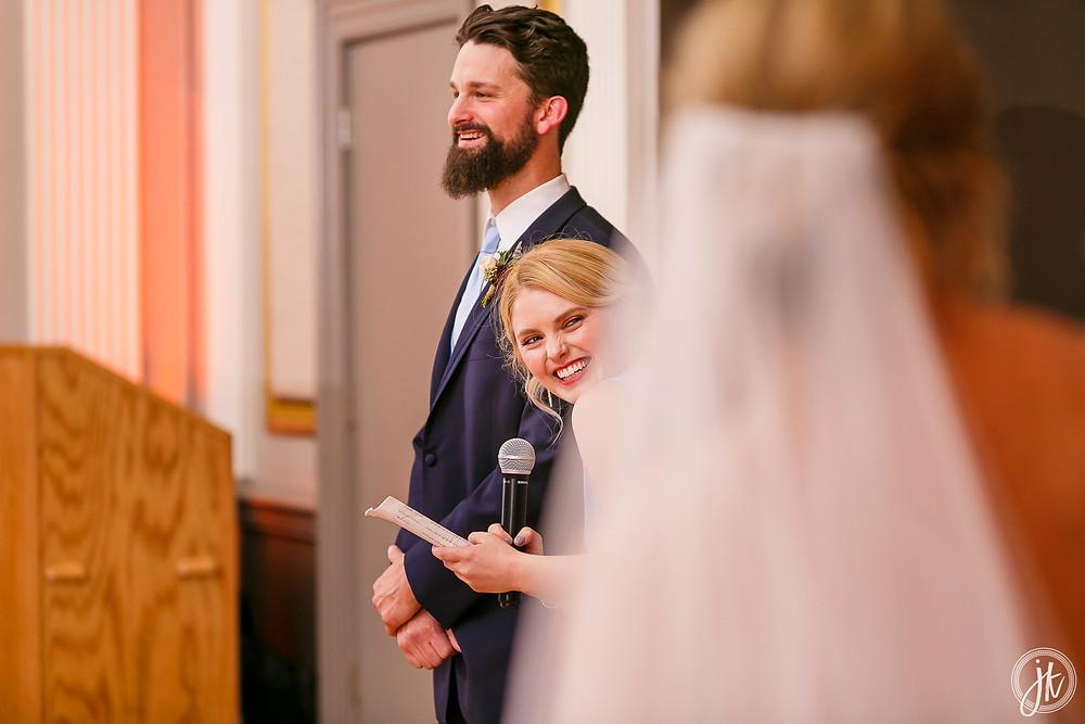 Bride and Groom, Wedding DJ, The Tiger Hotel, Blue Diamond Events, Wedding DJ, The Shoe Game, J. Kelley Photography, Columbia, MO, Weddings, Uplighting, Cheers, Toasts
