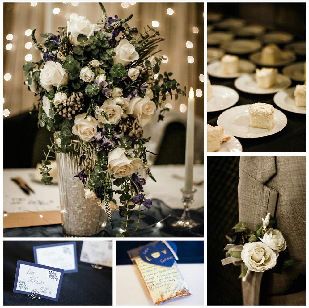 wedding details, blue diamond events dj, navy wedding inspiration, columbia, mo, missouri, mid-mo, boutonniere, wedding favors, let love grow, photography, cherry hill event center