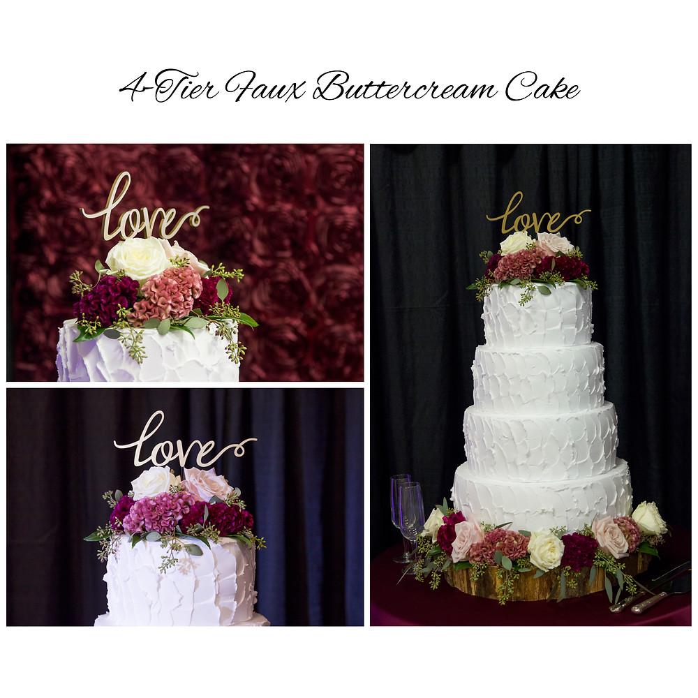 4 tier, faux, cake, buttercream, wedding trends, columbia, mo, missouri, wedding rentals, budget bride, tips, Blue Diamond Events, weddings, wedding