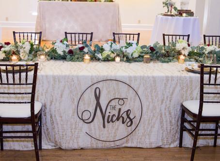 Event Logs | Burgundy Ballroom Reception | The Nicks Wedding