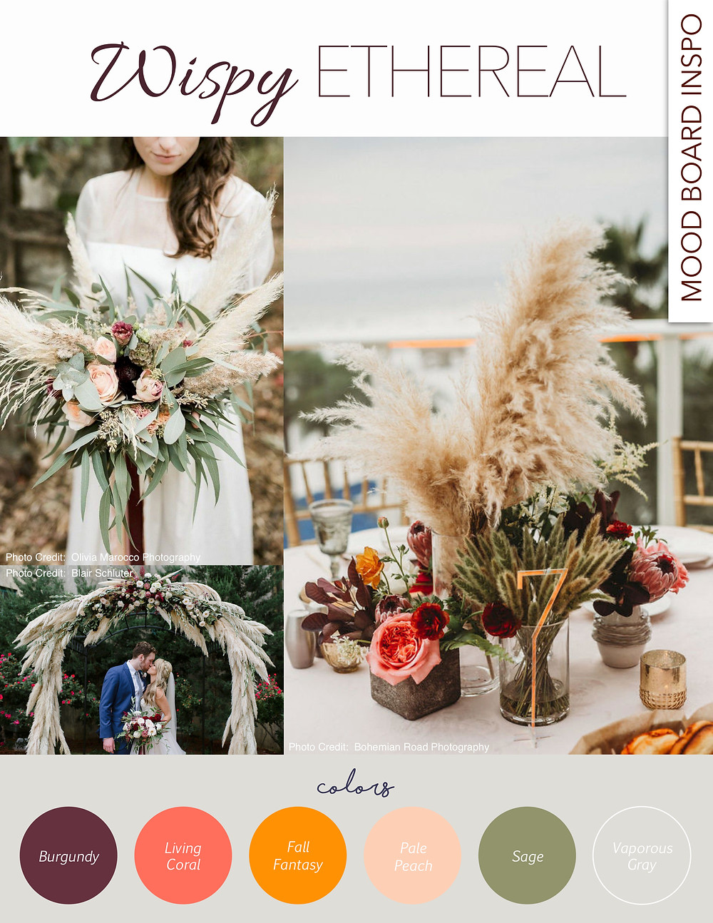 wispy, ethereal, wedding, mood board, coral, burgundy, fall fantasy, peach, sage, gray, grey, arbor, pampas grass, bouquet, tablescape, design, inspiration, blue diamond events, columbia, mo