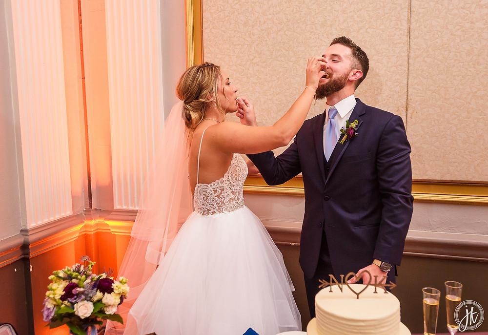 Bride and Groom, Wedding DJ, The Tiger Hotel, Blue Diamond Events, Wedding DJ, The Shoe Game, J. Kelley Photography, Columbia, MO, Weddings, Uplighting, Cake Cutting, Groom's Cake, Donut Wall