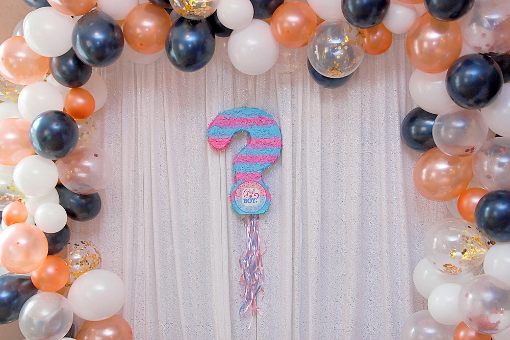 gender reveal, oh baby, team girl, team boy, columbia, mo, blue diamond events, the tiger hotel, party planning, event decor, event design, greenery wall, balloon garland, rose gold, navy, event coordinating, coordination, planning, the big reveal, white sequin backdrop, gender reveal piñata, pull string piñata