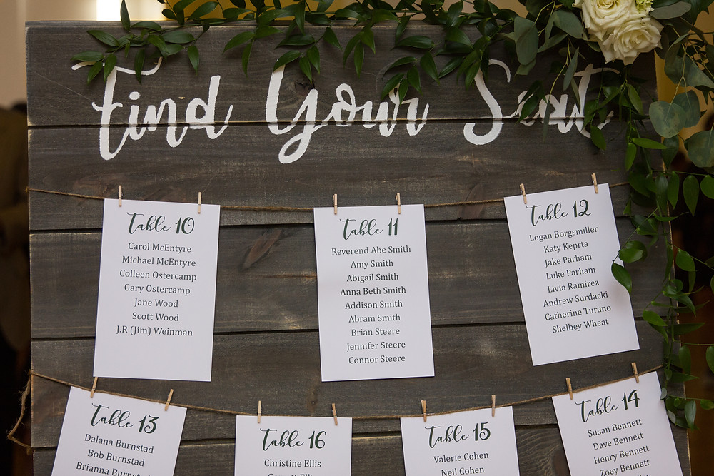 seating chart, find your seat, greenery, garland, table numbers, reception, seating, decor, wooden sign, signage, wedding inspiration