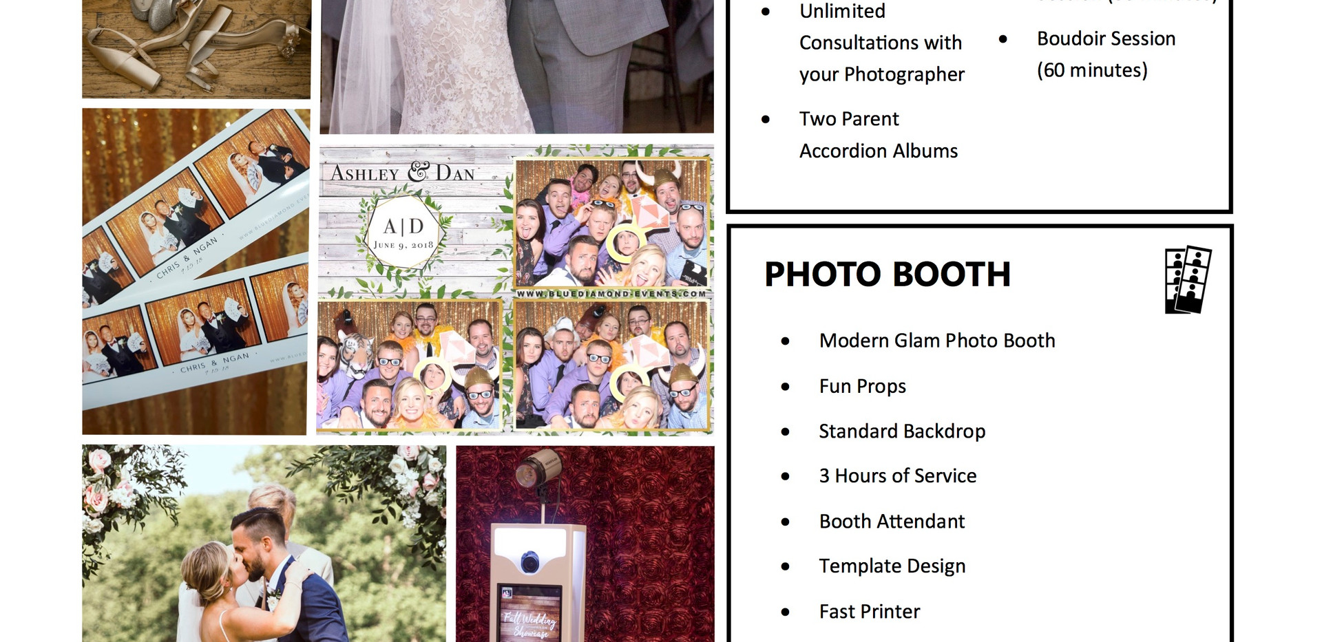 Wedding photography Photo booth Bundle Blue Diamond Events columbia mo