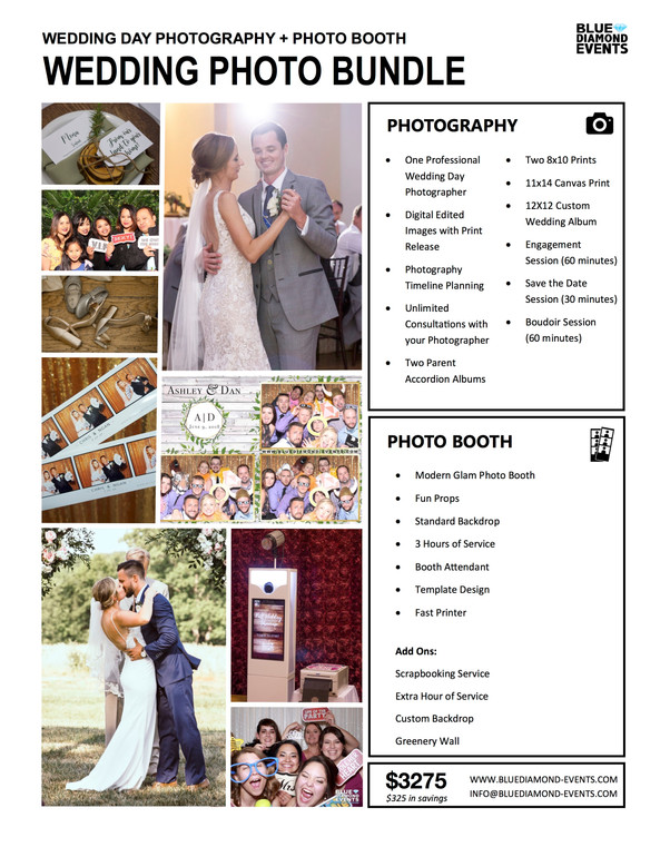 Wedding photography Photo booth Bundle Blue Diamond Events columbia mo