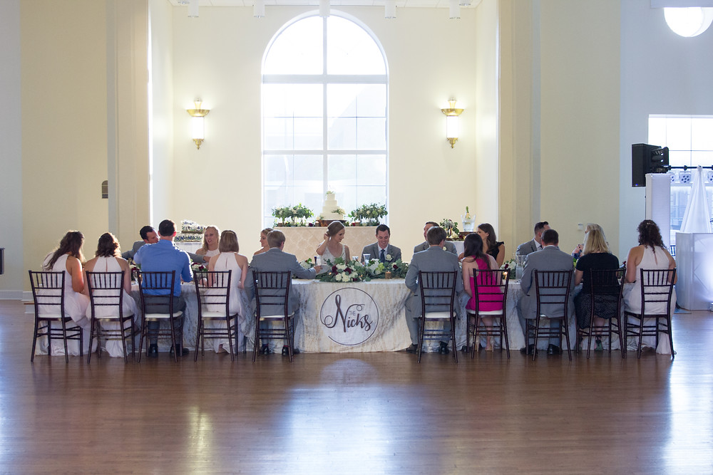 wedding party, head table, wedding sign, wedding cake, photographer, photography, wedding photos, bridal party pics, dj, mc, ballroom wedding, dinner