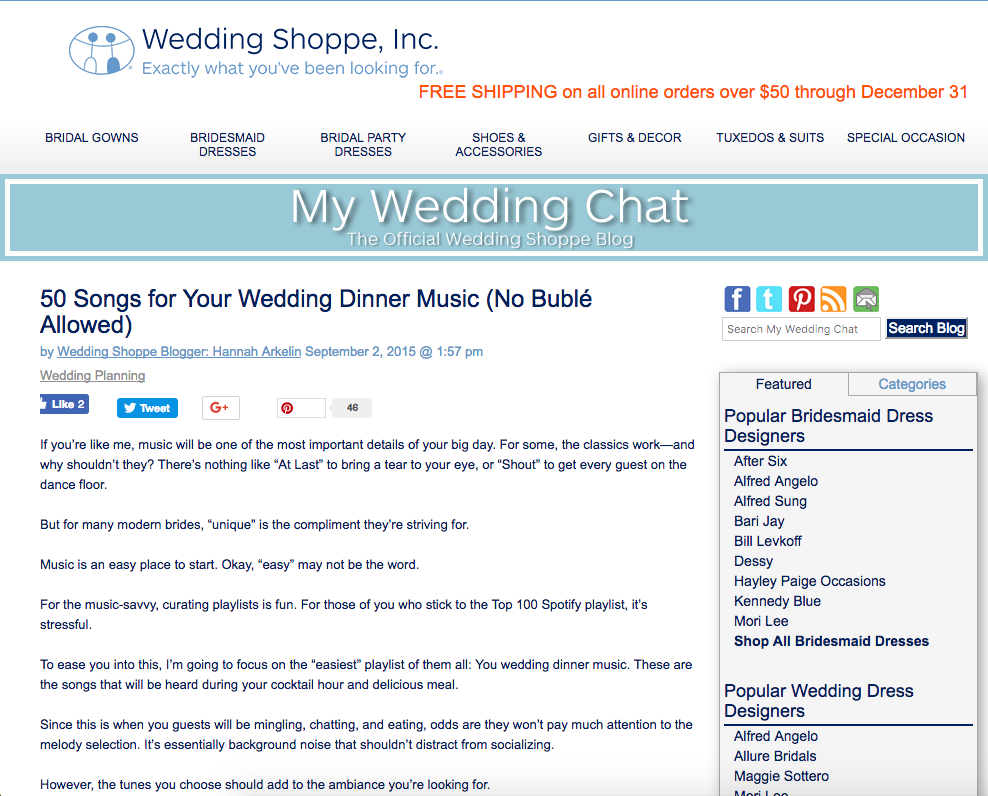 wedding shoppe, inc., 50 songs for your wedding dinner music, no buble allowed