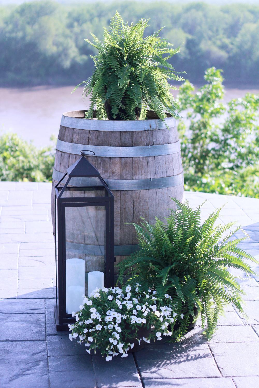 natural winery wedding, les bourgeois vineyards, rocheport, mo, blue diamond events coordinating, missouri, weddings, vintage decor, greenery, lanterns, candles, white flowers
