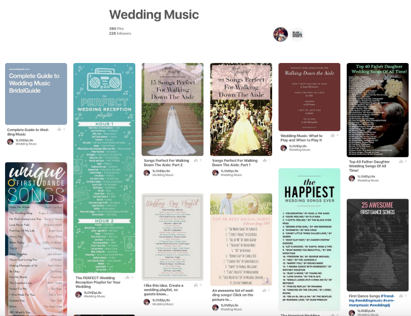 Pinterest Wedding Music Board, Blue Diamond Events, bluediamondeventsdj, wedding music, wedding playlist, wedding ceremony music, wedding reception music, first dance song, father daughter dance, mother son dance, anniversary dance, processional, prelude, cocktail hour, wedding music guide, spanish wedding music
