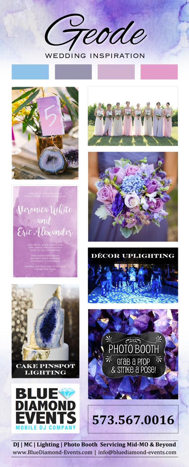 Geode Wedding Inspiration, Blue Diamond Events, event planning, coordinating, dj, photo booth, lighting, mc, mid-missouri