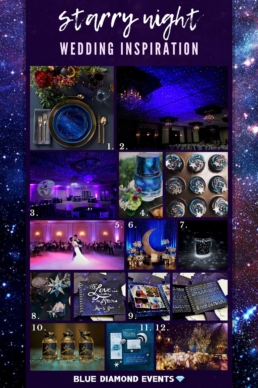 Starry Night, Wedding, Inspiration, Inspo, tablescape, constellation, stars, midnight, blue, purple, bliss lights, dancing under the stars, uplighting, decor, gold cutlery, Columbia, mo