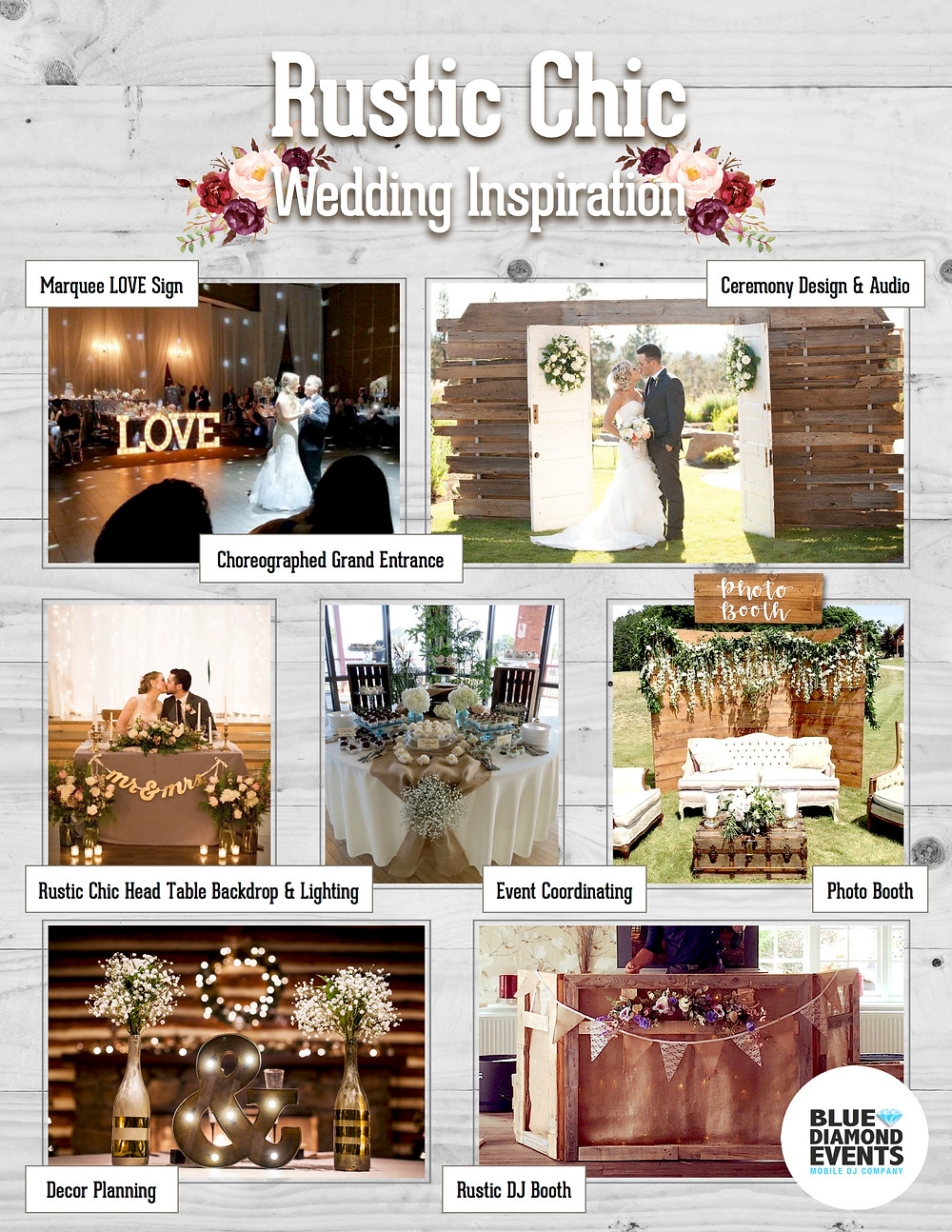 Rustic Chic, Wedding Inspiration, Ceremony Design, Ceremony Audio, Marquee LOVE Sign, Photo Booth, Event Coordinating, Backdrop, Lighting, DJ