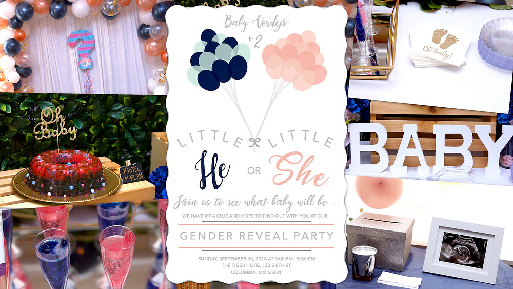 gender reveal, oh baby, team girl, team boy, columbia, mo, blue diamond events, the tiger hotel, party planning, event decor, event design, greenery wall, balloon garland, rose gold, navy, event coordinating, coordination, planning