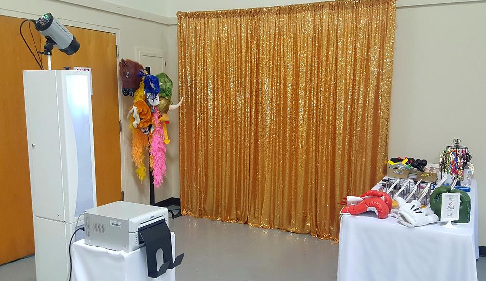 Modern Diamond Booth, Blue Diamond Events, Photo Booth, Columbia, MO, Weddings, Entertainment, Gold Sequin Backdrop