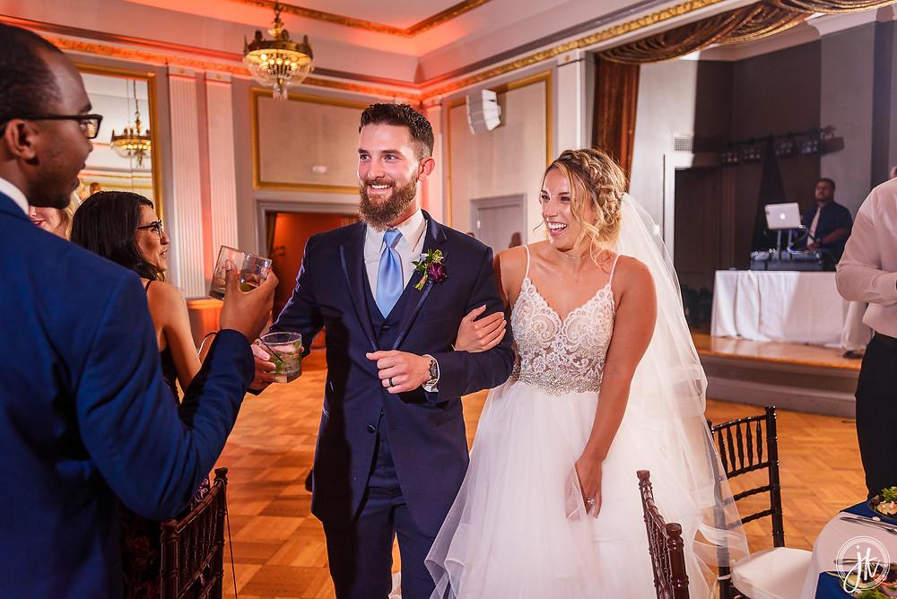 Bride and Groom, Wedding DJ, The Tiger Hotel, Blue Diamond Events, Wedding DJ, The Shoe Game, J. Kelley Photography, Columbia, MO, Weddings, Uplighting, Grand Entrance