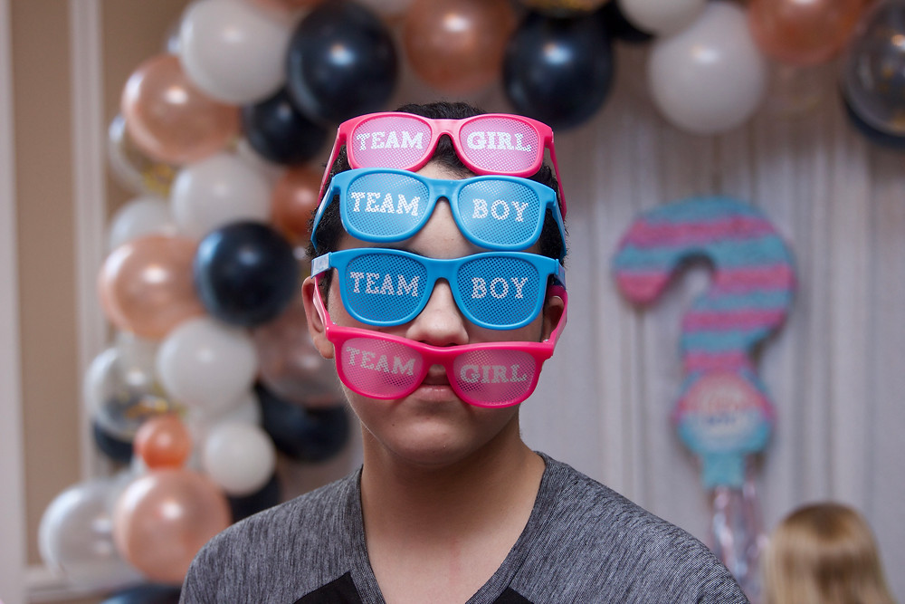 gender reveal, oh baby, team girl, team boy, columbia, mo, blue diamond events, the tiger hotel, party planning, event decor, event design, greenery wall, balloon garland, rose gold, navy, event coordinating, coordination, planning, glasses, party props, photo booth props
