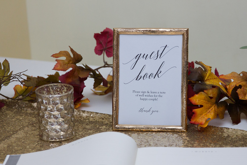 wedding, reception, signage, wedding day, columbia, mo, guest book, blue diamond events photography, burgundy, gold, Kimball Ballroom, Stephens College, fall decor, blue diamond events coordinating, day of coordinating