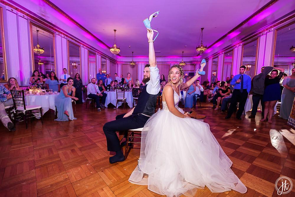 Bride and Groom, Weddings, The Tiger Hotel, Blue Diamond Events, Wedding DJ, The Shoe Game, J. Kelley Photography, Columbia, MO, Weddings, Uplighting, MC