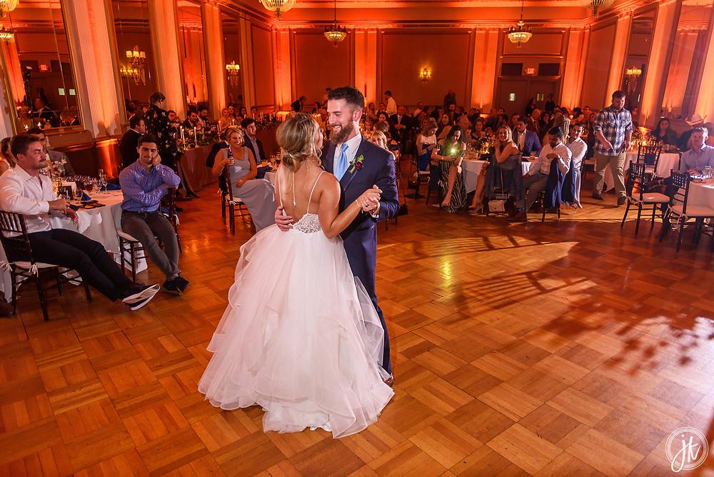 Bride and Groom, Wedding DJ, The Tiger Hotel, Blue Diamond Events, Wedding DJ, The Shoe Game, J. Kelley Photography, Columbia, MO, Weddings, Uplighting, First Dance