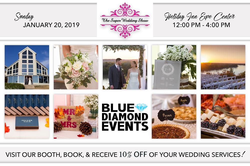 Super Wedding Show, Columbia, MO, Wedding Show, Holiday Inn Expo Center, Columbia Missouri Weddings, Blue Diamond Events, DJ, MC, Lighting, Photography, Photo Booth, Planning, Coordinating, Decor Rentals, Custom Event Design