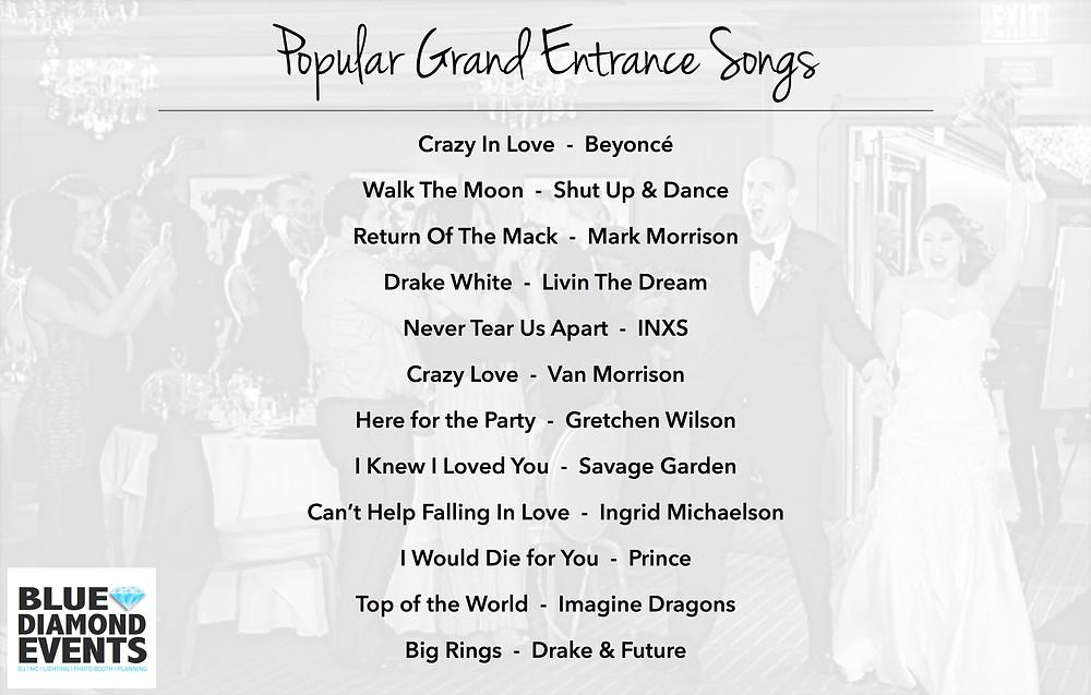 popular, grand entrance, songs, playlist, wedding, music, dj, newlyweds entrance, columbia mo dj, mid-mo, missouri, blue diamond events