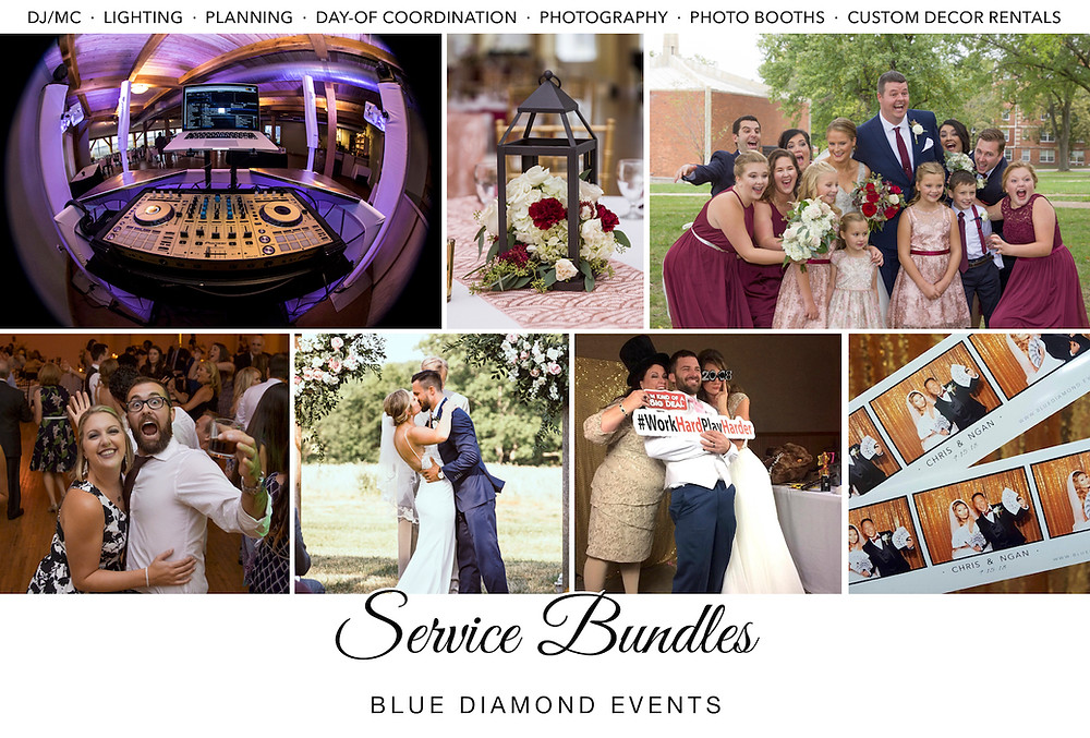 DJ, MC, Lighting, Photography, Photo Booths, Day-of Coordination, Planning, Coordinating, Custom Decor Rentals, Blue Diamond Events, Columbia, MO, WQeddings, Wedding, Services, Vendors, Bundles, Savings