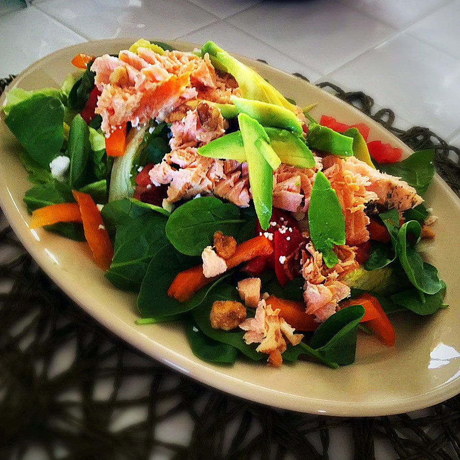 Salmon Over Spinach Salad