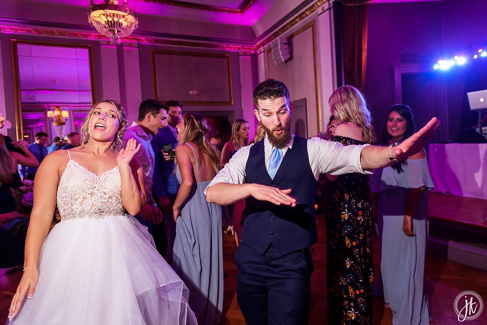 Bride and Groom, Wedding DJ, The Tiger Hotel, Blue Diamond Events, Wedding DJ, The Shoe Game, J. Kelley Photography, Columbia, MO, Weddings, Uplighting, Dance Party