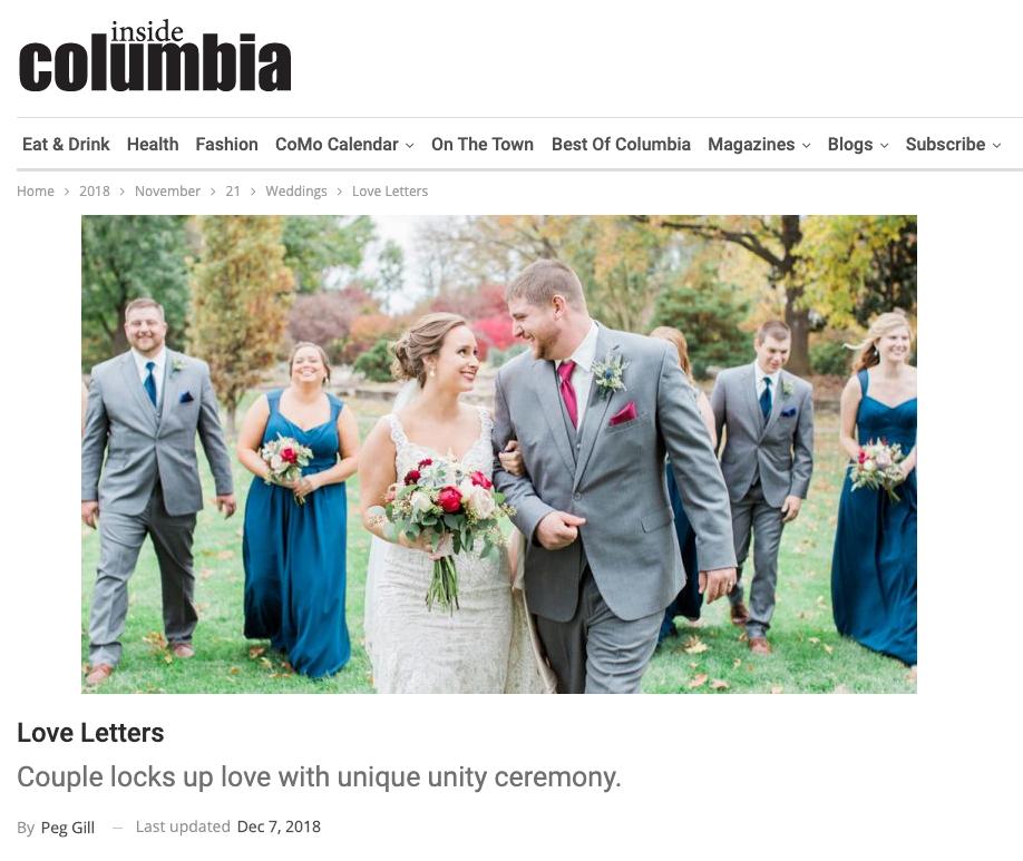 Inside Columbia Magazine, Hanke, Amy, Andrew, Wedding,  Blue Diamond Events, DJ, Stephens College, Firestone Baars Chapel, Kimball Ballroom, Weddings, Columbia, MO, DJ, MC