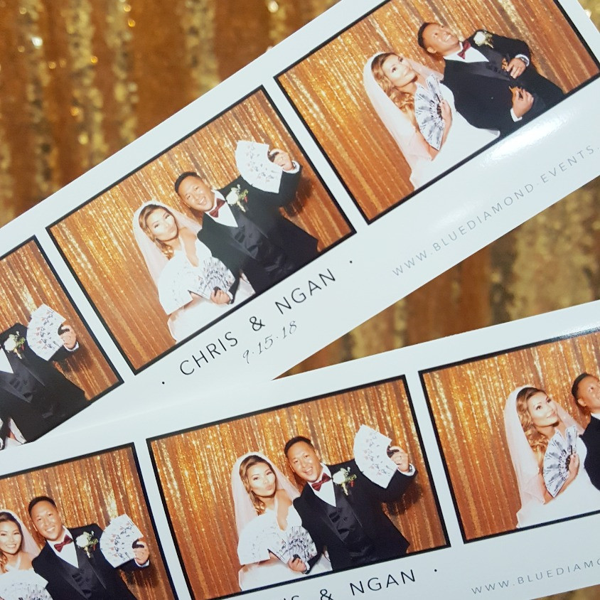 Modern Diamond Booth, Blue Diamond Events, Photo Booth, Columbia, MO, Weddings, Entertainment, Photo Booth Prints, Photo Booth Strips, Custom Designs, Modern Template Design, Gold Sequin Backdrop