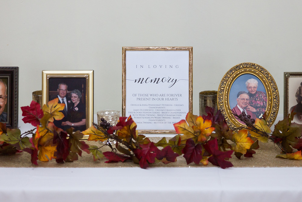 wedding, reception, signage, wedding day, columbia, mo, memory table, blue diamond events photography, burgundy, gold, Kimball Ballroom, Stephens College, fall decor, blue diamond events coordinating, day of coordinating