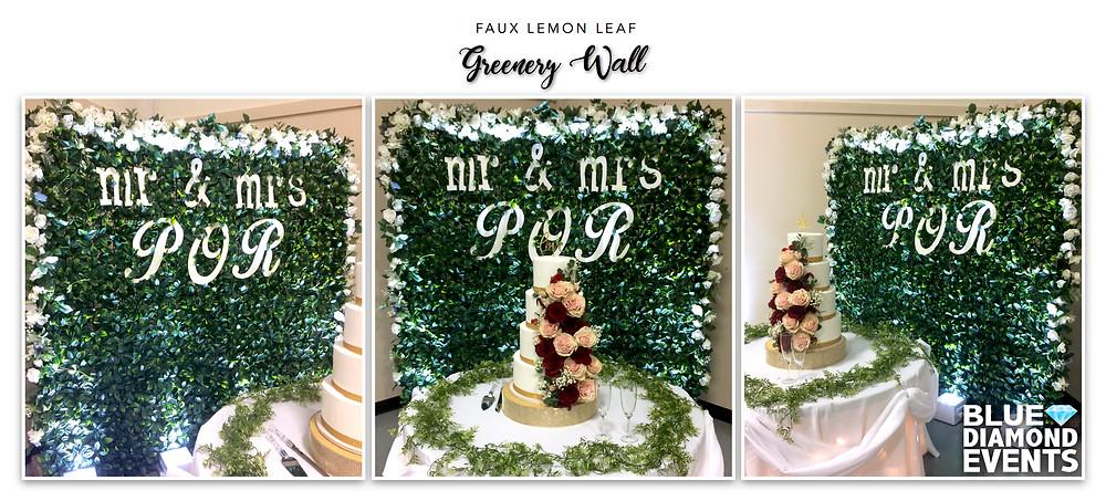 Custom Design, Event Design, Greenery Wall, Faux Lemon Leaf, Blue Diamond Events, Cake Table, Backdrop, Columbia, MO