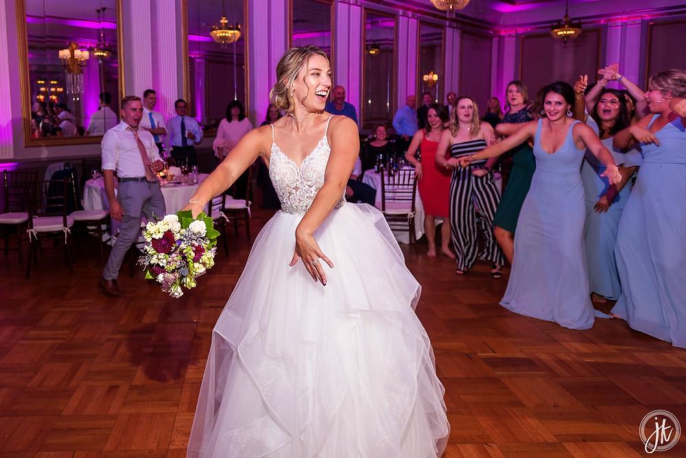 Bride and Groom, Wedding DJ, The Tiger Hotel, Blue Diamond Events, Wedding DJ, The Shoe Game, J. Kelley Photography, Columbia, MO, Weddings, Uplighting, Dance Party, Bouquet Toss, Bridesmaids