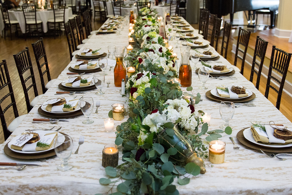 tablescape, dinner, catering, menu, columbia mo, missouri, wedding inspiration, head table, candles, place setting, reception