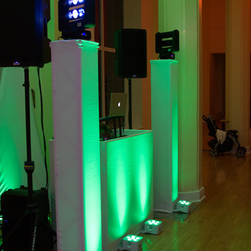 Lighting on our Elite DJ Booth in the color of your choice | Blue Diamond Events Weddings | Columbia, MO