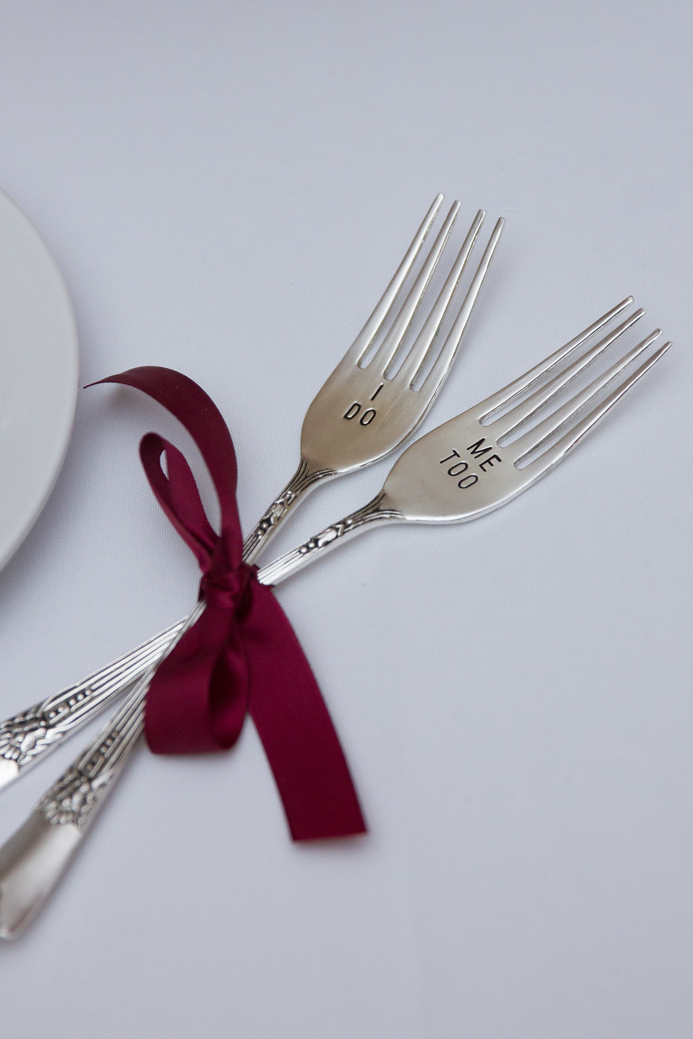 wedding, reception, cake table, wedding day, wedding cake, I do, me too, personalized silverware, dessert forks, columbia, mo, blue diamond events photography, fall colors, Kimball Ballroom, Stephens College, fall decor, blue diamond events coordinating, day of coordinating