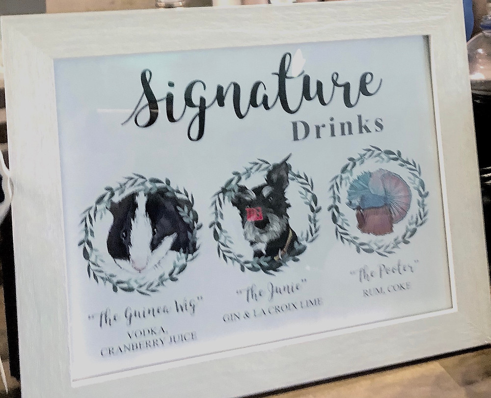 signature drinks, pet inspired, wedding, personalized, decor, signage, blue diamond events, weddings, columbia, mo, missouri