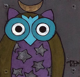 Night Owl2, Teri Barnett, 6x6, acrylic o