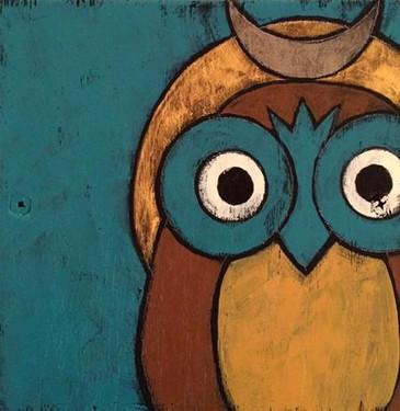 2-owl magic, Teri Barnett, 6x6, acrylic