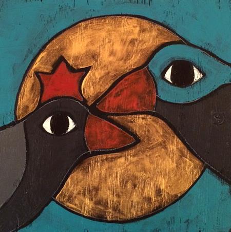 1-sm-crow magic, Teri Barnett, 6x6, acry