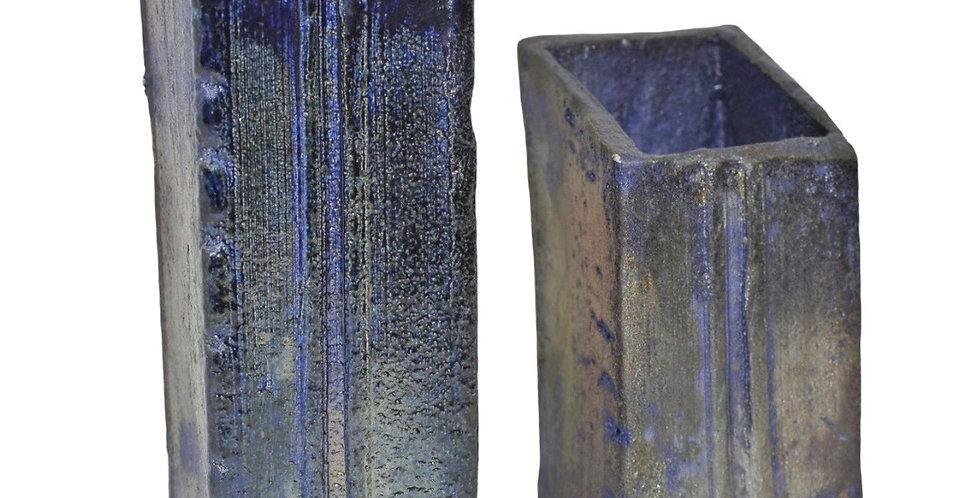 Short, Square Blue Vase