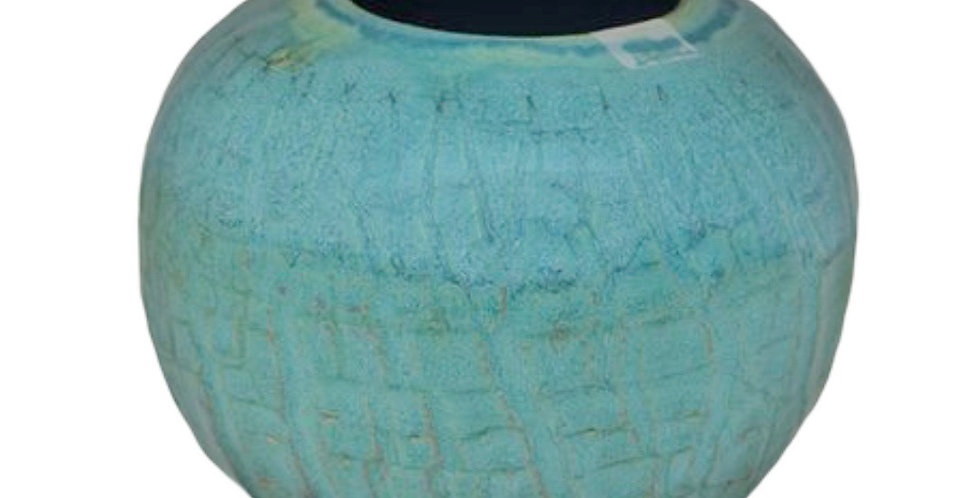Blue Green Round Pot, Hand Crafted