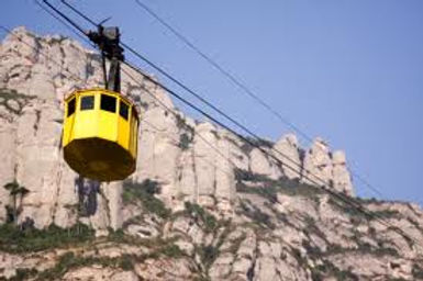 Exceptional views of the region and Monserrat Mountain. Montserrat cable car was started in 1930. Its length is 1350 meters and it rises to inclines up to 45%.