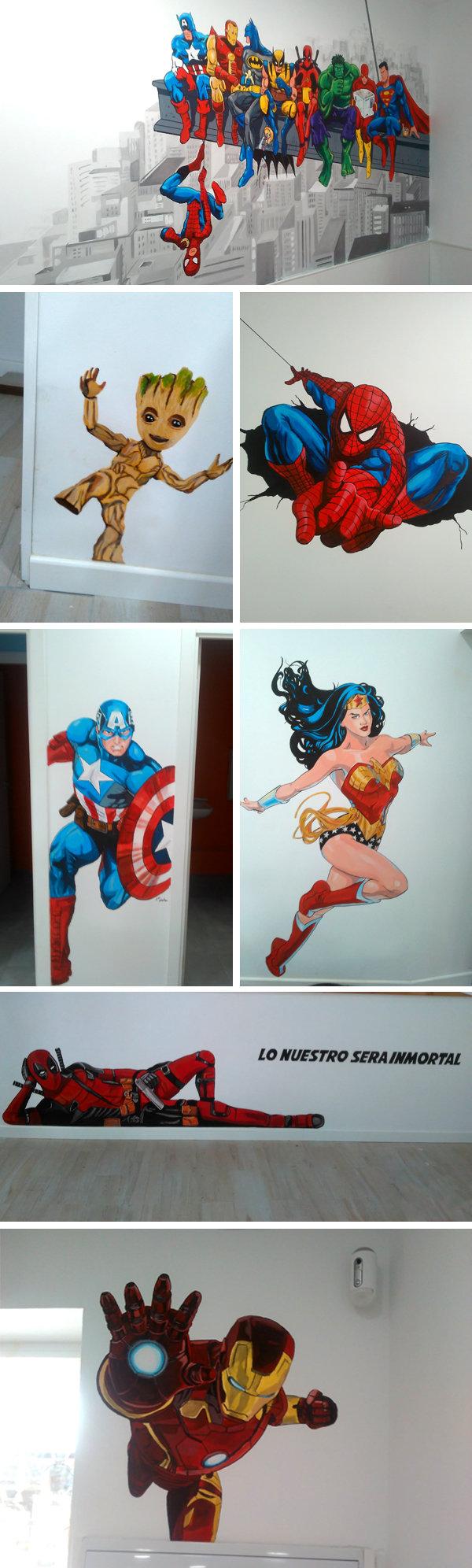 murales para cafetería superhéroes