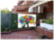 Mural de arbol para patio de vivienda particular