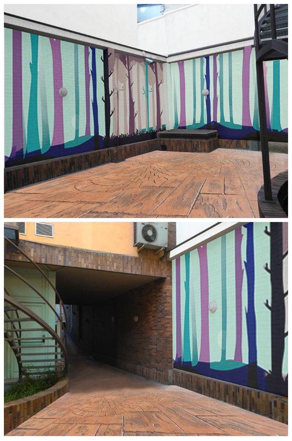 Mural para garaje aparcamiento