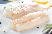 Fresh fish, raw cod fillets with additio
