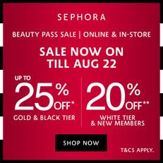 【Sephora優惠】- 白卡會員: 全場貨品可享8折 黑卡/金卡會員: 全場貨品可享8折購買滿HK$1000可享75折 (優惠到2021年8月22日)