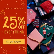 《JACK WILLS 雙12優惠》- 全場貨品75折優惠 + 外套低至6折及毛衣低至7折 (優惠至12月16日)